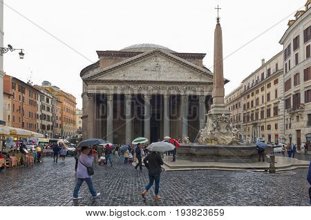 Rome Italy - October 01 2015. The Pantheon is an ancient Roman building located in the historic center. Tourists on a rainy day. Rome Italy