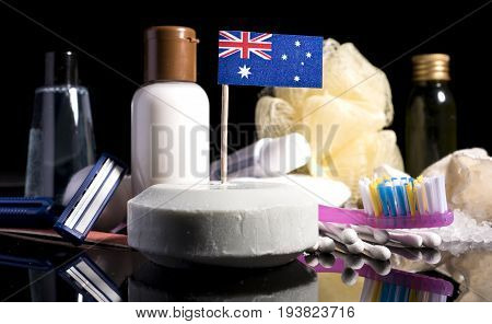 Australian Flag In The Soap With All The Products For The People Hygiene