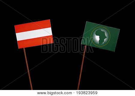 Austrian Flag With African Union Flag Isolated On Black Background