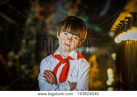 Redhead Attractive Boy Dressed Like Soviet Pioneer With Red Tie