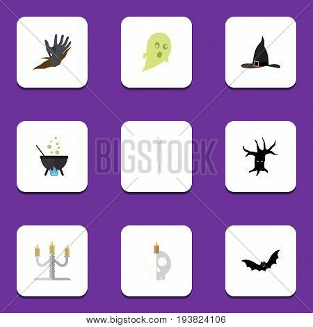 Flat Icon Festival Set Of Witch Cap, Zombie, Skeleton And Other Vector Objects. Also Includes Boiling, Cauldron, Wizard Elements.