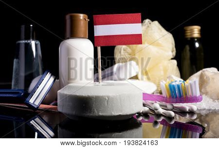 Austrian Flag In The Soap With All The Products For The People Hygiene