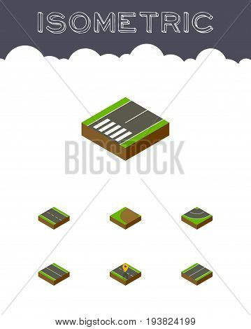 Isometric Way Set Of Plane, Navigation, Turning And Other Vector Objects. Also Includes Driveway, Footpassenger, Location Elements.