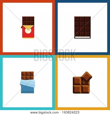 Flat Icon Cacao Set Of Cocoa, Chocolate Bar, Bitter And Other Vector Objects. Also Includes Dessert, Cocoa, Chocolate Elements.