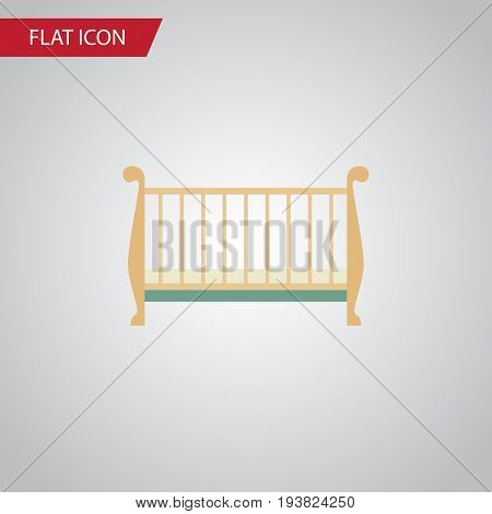 Isolated Crib Flat Icon. Cot Vector Element Can Be Used For Cot, Crib, Bed Design Concept.