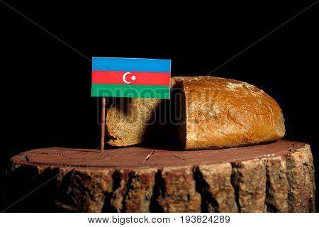 Azerbaijan Flag On A Stump With Bread Isolated