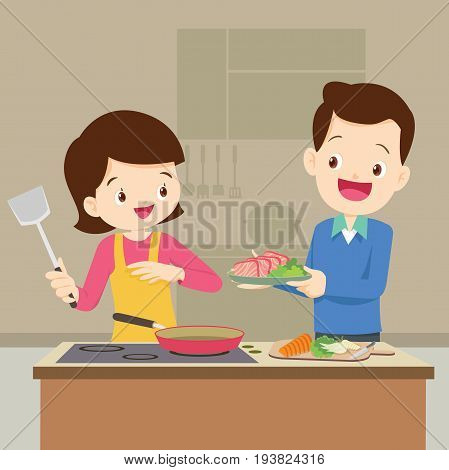 Husband And Wife Are Preparing Together