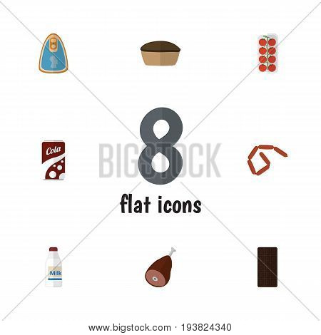 Flat Icon Meal Set Of Confection, Tomato, Tart And Other Vector Objects. Also Includes Ham, Milk, Bar Elements.