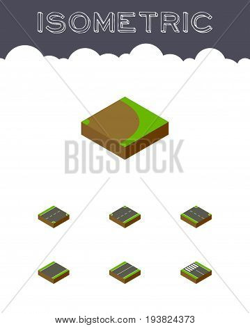 Isometric Way Set Of Unilateral, Rotation, Upwards And Other Vector Objects. Also Includes Up, Road, Right Elements.