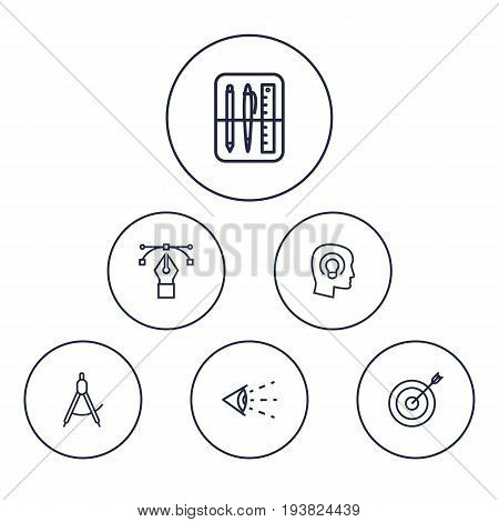 Set Of 6 Creative Outline Icons Set.Collection Of Bezier Curve, Drawing Tools, Target And Other Elements.