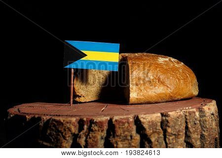 Bahamas Flag On A Stump With Bread Isolated