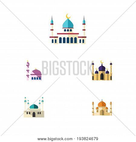 Flat Icon Building Set Of Islam, Building, Mosque And Other Vector Objects. Also Includes Religion, Islam, Building Elements.