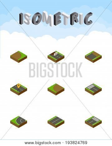 Isometric Road Set Of Turning, Unfinished, Way And Other Vector Objects. Also Includes Flat, Pedestrian, Road Elements.