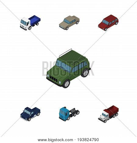 Isometric Car Set Of Lorry, Car, Truck And Other Vector Objects. Also Includes Sedan, Drive, Lorry Elements.