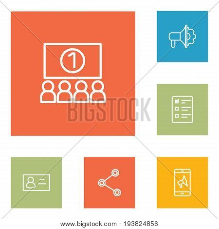 Set Of 6 Advertising Outline Icons Set.Collection Of Business Card, Advertising Agency, Social Media Ads And Other Elements.
