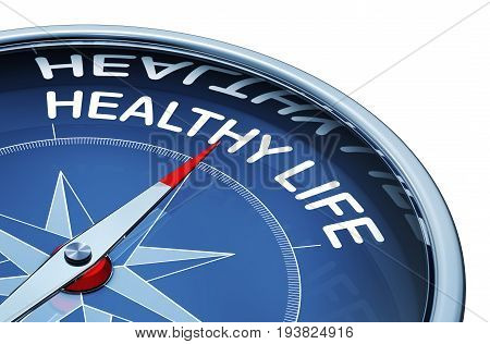 3D rendering of a compass with a healthy life icon
