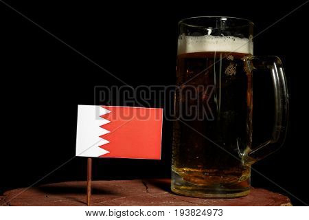 Bahrain Flag With Beer Mug Isolated On Black Background
