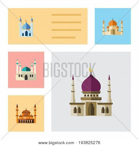 Flat Icon Building Set Of Traditional, Structure, Religion And Other Vector Objects. Also Includes Mosque, Mohammedanism, Religion Elements.
