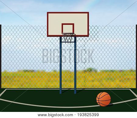 Empty street playground for basketball fenced net