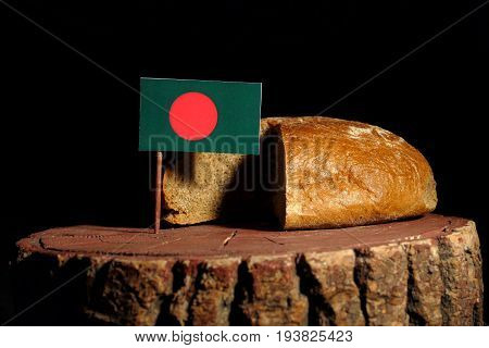 Bangladesh Flag On A Stump With Bread Isolated