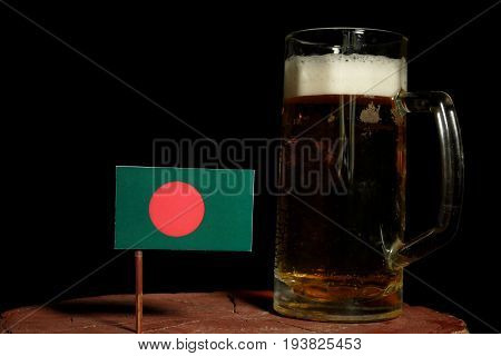 Bangladesh Flag With Beer Mug Isolated On Black Background