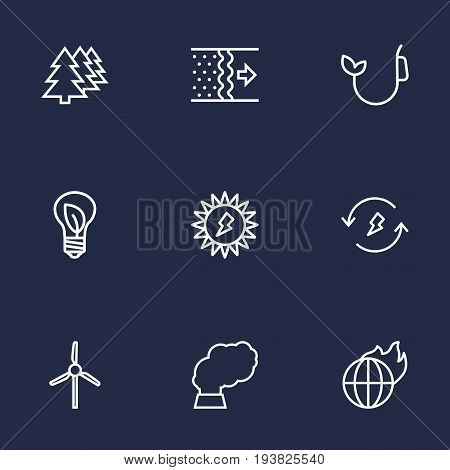 Set Of 9 Bio Outline Icons Set.Collection Of Fuel, Global Warming, Solar And Other Elements.