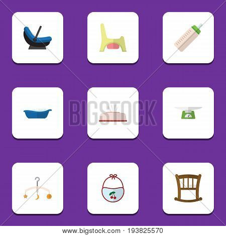 Flat Icon Child Set Of Toilet, Pram, Children Scales And Other Vector Objects. Also Includes Bib, Crib, Tissue Elements.