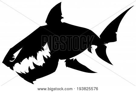 Black graphic cartoon silhouette shark with sharp teeth on white background