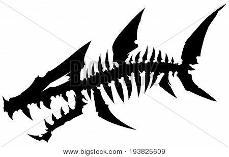 Black graphic silhouette dead monster fish skeleton with bones on white background