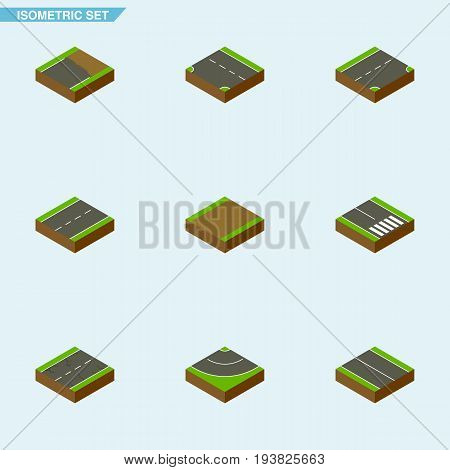 Isometric Road Set Of Driveway, Cracks, Down And Other Vector Objects. Also Includes Highway, Flat, Incomplete Elements.