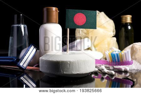 Bangladeshi Flag In The Soap With All The Products For The People Hygiene