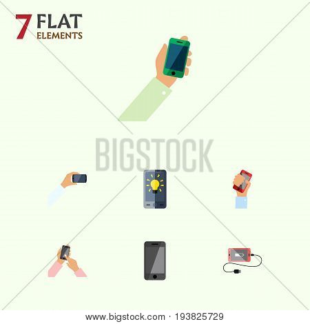 Flat Icon Phone Set Of Accumulator, Keep Phone, Screen And Other Vector Objects. Also Includes Holding, Cellphone, Screen Elements.
