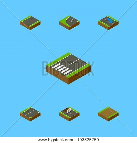 Isometric Road Set Of Repairs, Footpath, Down And Other Vector Objects. Also Includes Asphalt, Footpath, Under Elements.