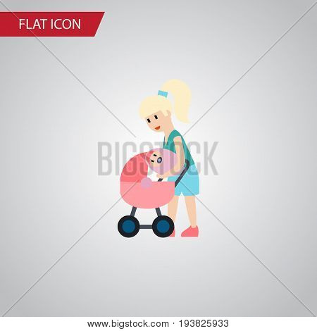 Isolated Perambulator Flat Icon. Mother Vector Element Can Be Used For Mother, Perambulator, Baby Design Concept.