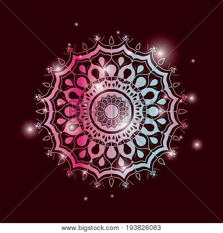 red wine color background with brightness and colorful brilliant flower mandala vintage decorative ornament vector illustration