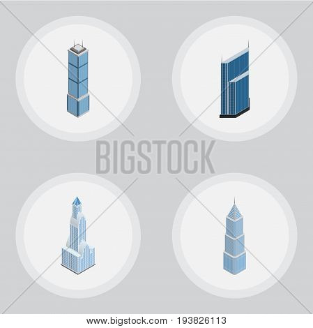 Isometric Building Set Of Residential, Apartment, Cityscape And Other Vector Objects. Also Includes Urban, Residential, Skyscraper Elements.
