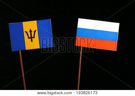 Barbados Flag With Russian Flag Isolated On Black Background