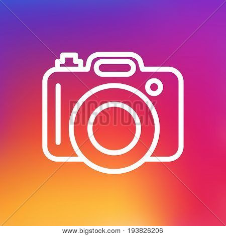 Isolated Photo Outline Symbol On Clean Background. Vector Dslr Camera Element In Trendy Style.