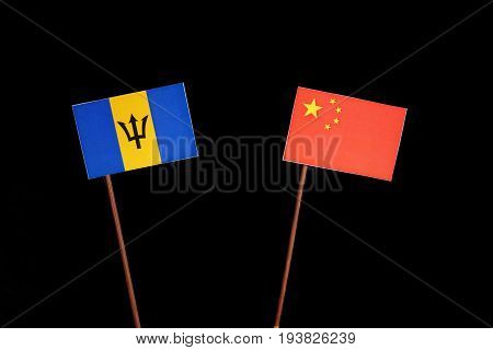 Barbados Flag With Chinese Flag Isolated On Black Background