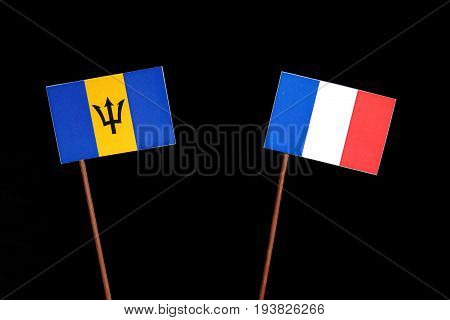 Barbados Flag With French Flag Isolated On Black Background
