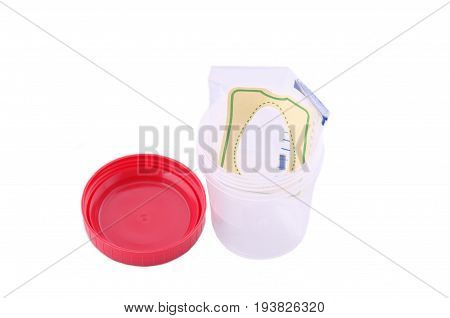 Urine collection bag on urine specimen cup.