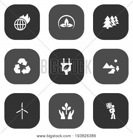 Set Of 9 Bio Icons Set.Collection Of Warm, Friendly, Protection And Other Elements.