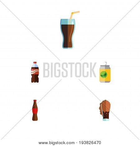 Flat Icon Soda Set Of Soda, Bottle, Beverage And Other Vector Objects. Also Includes Cola, Carbonated, Beverage Elements.