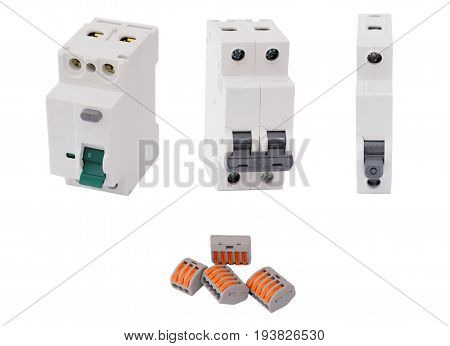 Residual-current device, different circuit breakers and compact splicing connectors isolated on white background.