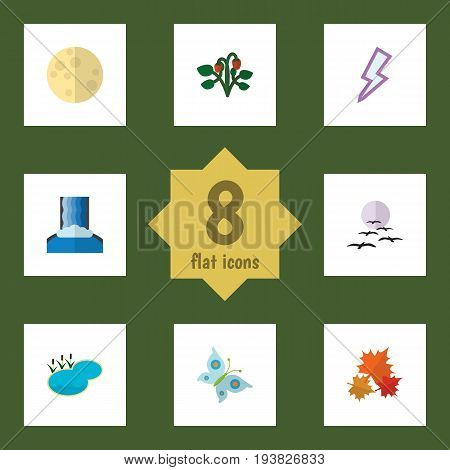 Flat Icon Natural Set Of Lightning, Cascade, Berry And Other Vector Objects. Also Includes Moth, Maple, Monarch Elements.
