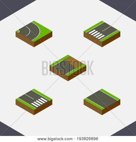 Isometric Way Set Of Pedestrian, Asphalt, Footpassenger And Other Vector Objects. Also Includes Road, Bitumen, Pedestrian Elements.