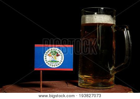 Belize Flag With Beer Mug Isolated On Black Background