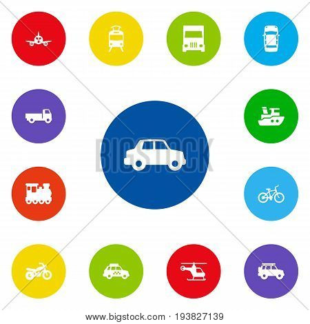 Set Of 13 Transport Icons Set.Collection Of Motorbike, Wagon, Hatchback And Other Elements.