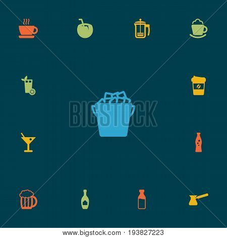 Set Of 13 Beverages Icons Set.Collection Of Turkish Coffee, Fridge, Espresso And Other Elements.