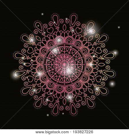 black color background with brightness and colorful brilliant flower mandala vintage decorative ornament vector illustration
